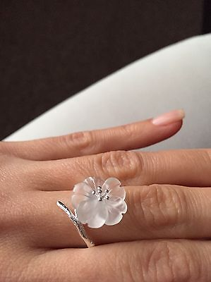 925 Sterling Silver Lotus Flower Ring Clear/White Natural Crystal Quartz