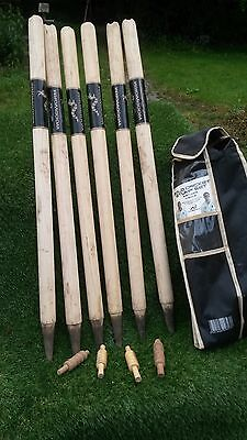 Woodworm Set Of 6 Cricket Stumps and 4 Bails. Full Size 28 Inch Stumps.