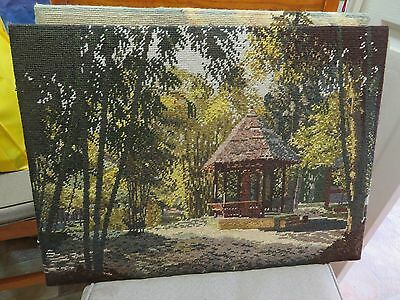 ANTIQUE Completed tapestry. Frame Removed. Very good stitching.Great condition.