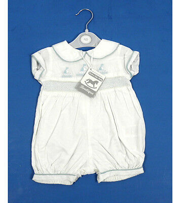Rock a Bye Baby Boutique White Sailor Boat Boys Traditional Romper NB - 9 Months