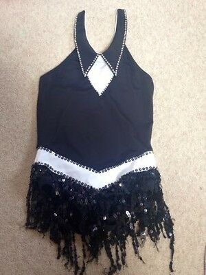 Dance Costume Black And White Halterneck - Medium Child