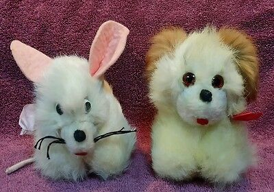 Lot Of 2 Vintage Fur Stuffed Animals:  Puppy Dog & Mouse