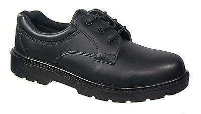 Mens Safety Shoes / Black Leather Metal Free Composite Laced Amblers
