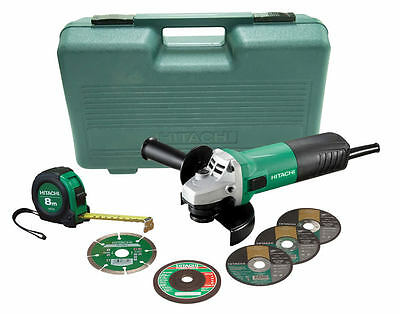 Hitachi 125mm Angle Grinder W/ Bonus Tape Measure Carry case and Cutting Wheels