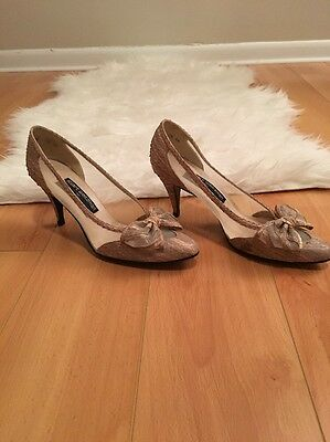 fa5678a28b5e Stuart Weitzman for Mr. Seymour Pink Beige Mesh Bow Heels Size 7.5 Narrow