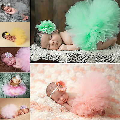 Newborn Baby Girls Tutu Skirt Dress Headband Photo Prop Costume Outfit