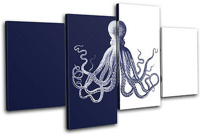 Nautical Bathroom Octopus Vintage MULTI CANVAS WALL ART Picture Print