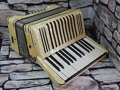 Vintage Hohner Student II (2) bass accordion piano accordian in pearly white