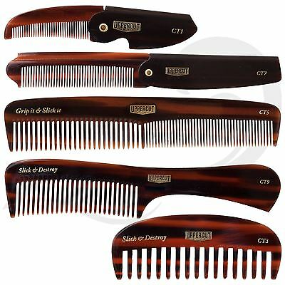 Uppercut Deluxe Tortoiseshell Men's Combs Styling Beard Moustache Flip Comb