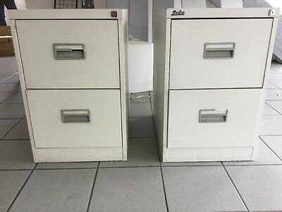 Used 2 Drawer Metal Filing Cabinets, Pale Grey