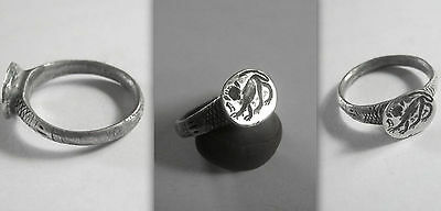 Unique Byzantine/early Medieval Silver Ring with Monkey probably a guenon