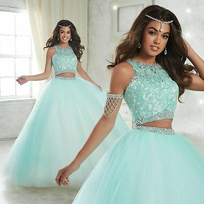2017 New Two Piece Ball Quinceanera Dresses Sweet 15 Years Prom Party Gown