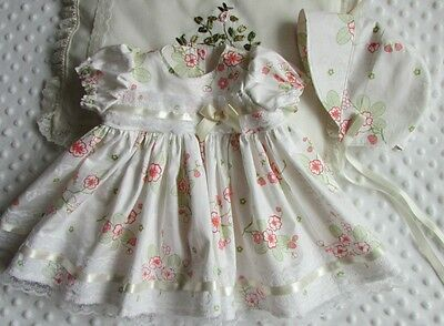 Baby girls cream floral dress and bonnet set 0/3 months - 20/22 inch reborn doll