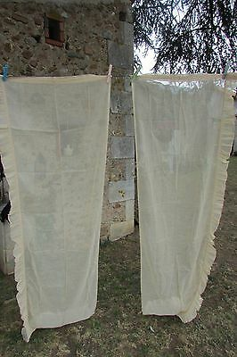PRETTY PR LONG VINTAGE FRENCH FRILLED COTTON VOILE CURTAINS DRAPES c1930 8ft