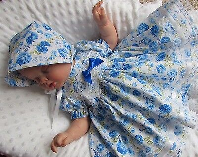 Baby girls blue floral dress and bonnet set 0/3 months - 20/22 inch reborn doll