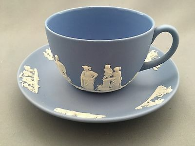 Wedgwood Jasperware Pale Blue with White Relief Tea Cup and Saucer