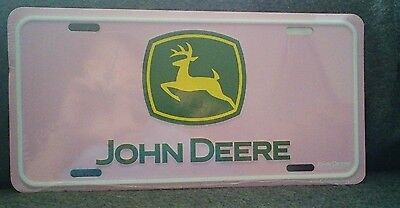 New With Tag John Deere License Plate Metal Stamped Pink/yellow/green