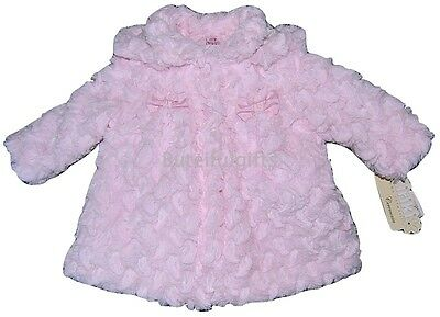 Baby Girls Spanish Romany Pink Fur Hooded Bow Coat 6-12 & 18-24 Month