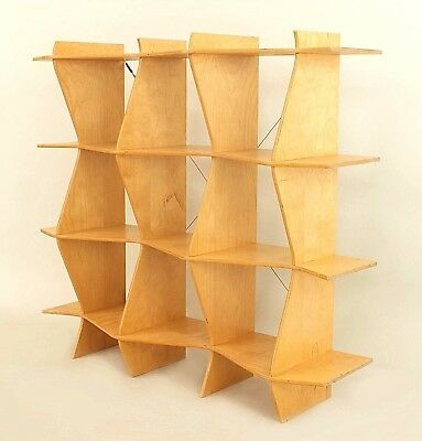 "American Mid-Century Blond Plywood ""ZigZag"" Etagere Shelf Unit"