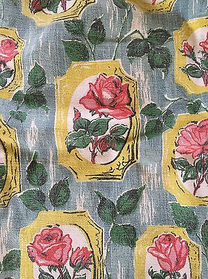 Genuine Vintage 1950's Rose Barkcloth Curtains - Beautiful Condition