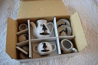 NEW Ceramic Cowboy Dolls Porcelain Tea Hand Made Set 10 Pieces New  In Box