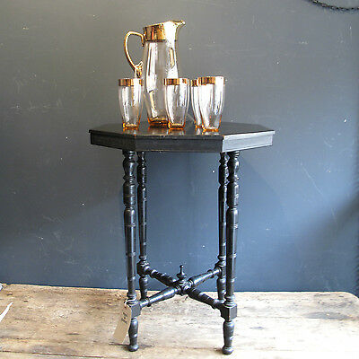 Antique Ebonised Octagonal Side Table - Turned Legs - Occasional End Plant Stand