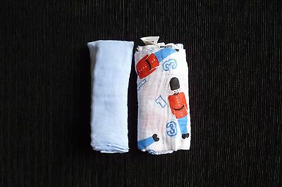Baby feeding/clothes BOY 0-1m+ NEW!blue/toy soldier 2 muslin cloths 68cm x 68cm
