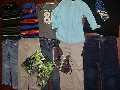 Back 2 school youth boys 7 8 huge lot clothes jeans shoes shirts NAME BRAND