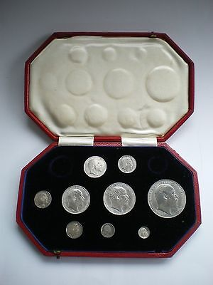 1902 EDWARD VII SILVER MATT PROOF 9 COIN SET - CROWN TO MAUNDY 1d WITH BOX