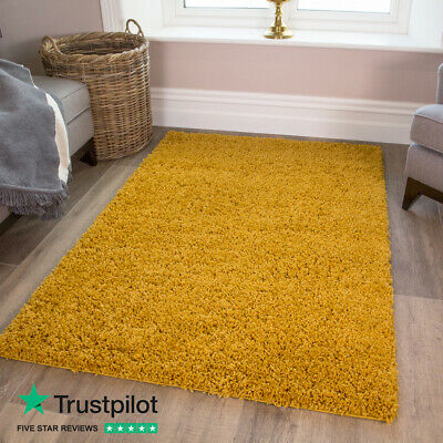 Mustard Ochre Cosy Yellow Shaggy Rugs Warm Thick Non Shed Fluffy Living Room Rug