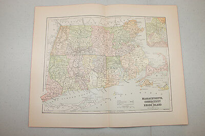 Authentic first issu print in 1890 WORLD MAP VINTAGE Massachusets Hunt NY. (4)