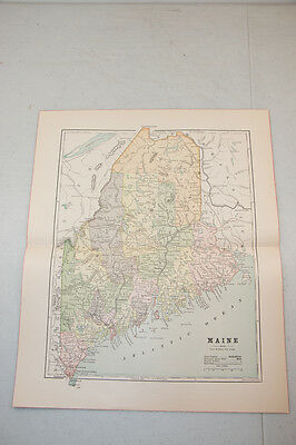 Authentic first issu print in 1890 WORLD MAP VINTAGE Maine fisk NY.  (3)