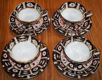 Royal Crown Derby Old Imari #2451 Four Cups, Saucers and Side Plate Sets