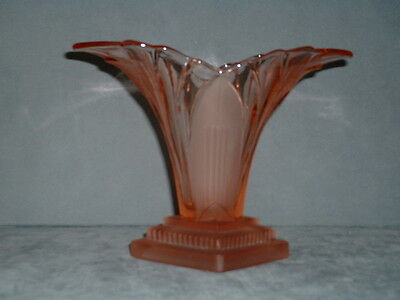 Walther & Sohne 1930's Art Deco Pink / Amber Glass 'Greta' Vase