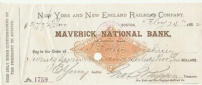 1882 MAVERICK NATIONAL BANK of BOSTON, MASSACHUSETTS   W/REVENUE STAMP