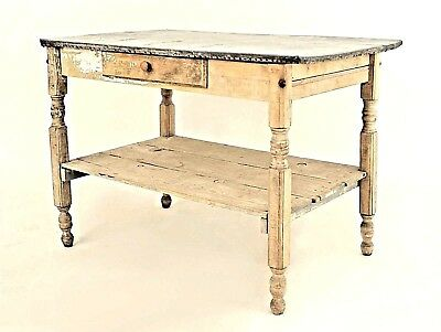 American Country Rustic Style (19th Cent.) Stripped Weathered Work Table