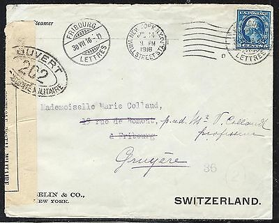 Us 1916 Cover Censored France To Switzerland