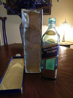 Johnnie Walker Blue Label Scotch Whiskey Empty Bottle and Box