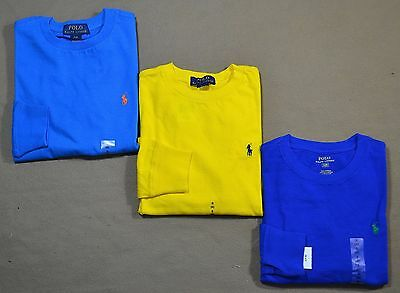 Nwt Boys Kids Polo Ralph Lauren Long Sleeve Crew T Shirt Sz S M L, 3 Colors