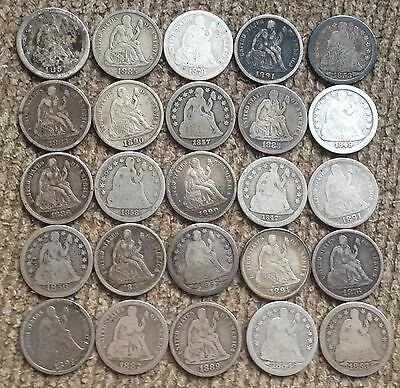 25 mixed date and grade Seated Liberty Dimes - Lot 2