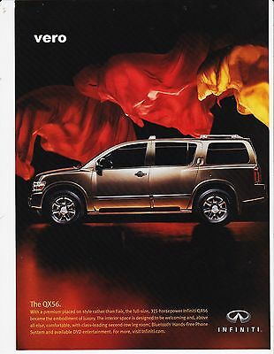 INFINITI QX56 2005 magazine ad print clipping car automobile vintage advert