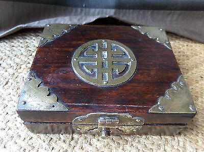 Antique Chinese Wooden Box Hinged Lid Brass China REDUCED