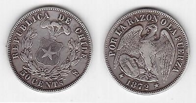 Chile - Rare Silver 50 Centavos Coin 1872 Year Km#139