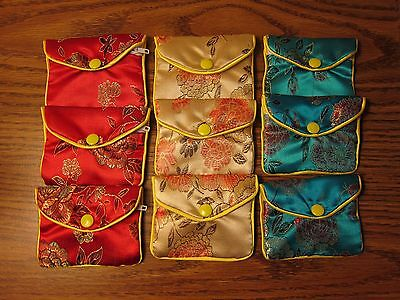 Lot of 9 Silk Coin Purses Wedding Party Favor Pouch Jewelry Bag Red Blue Cream