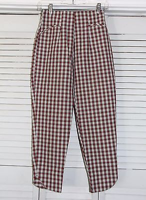 VINTAGE Capri's  - 1950's Plaid Cigarette Pants High Waist Cotton Pinup Women's
