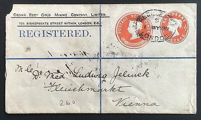 QV 4d + 1/2d registered STO embossed stationery compound env (1899) to Vienna