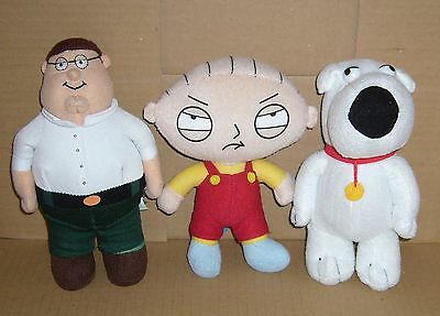 """set of 3 Family Guy 7"""" / 18 cm plush soft toy figures Brian Stewie Peter 2012"""