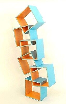 American Post-War Design Turquoise and Orange Painted Shelf Cabinet