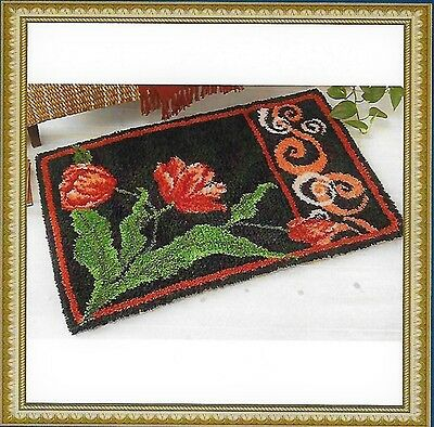 Stylish Red Flower Printed Canvas Latch Hook Rug Kit  - Everything included