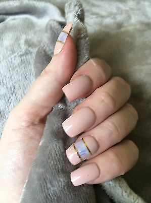 False Nails  Nude Negative Space Angel Paper Full Cover Stiletto Fake Nails Uk